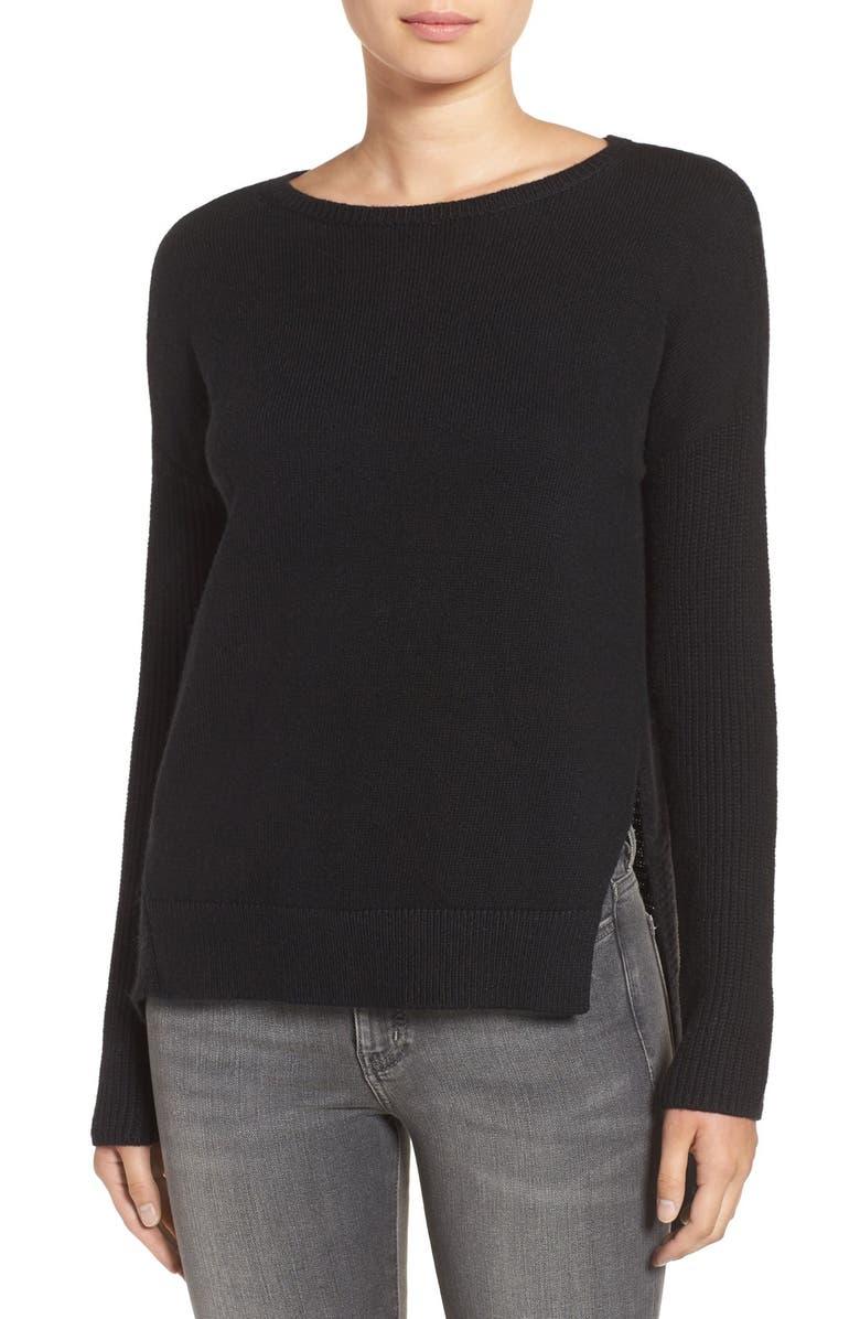 TROUVÉ Asymmetrical Hem Sweater, Main, color, 001