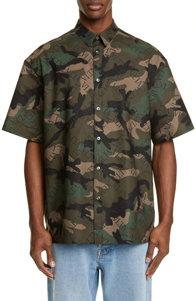 VALENTINO Grid Logo Camouflage Slim Fit Shirt, Main, color, CAMO