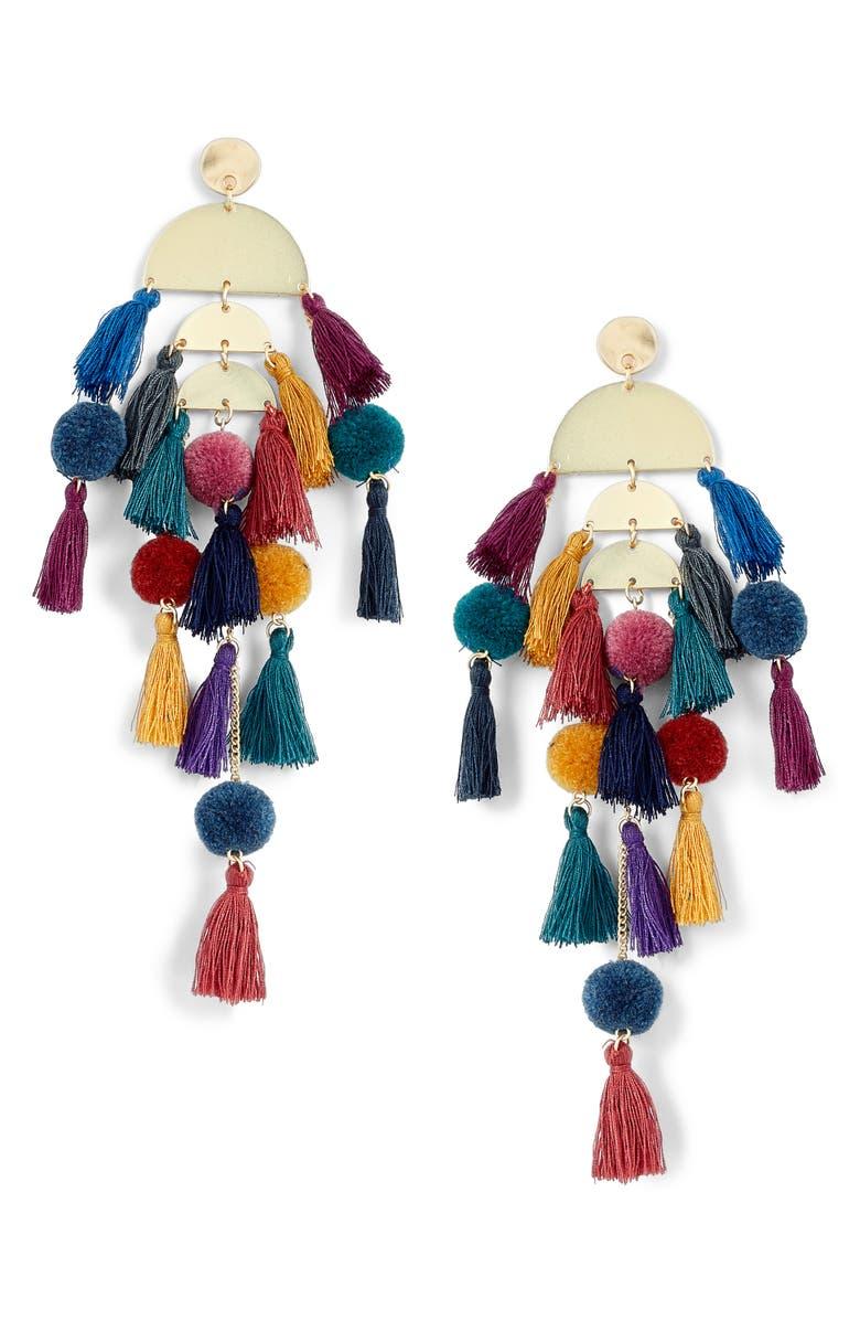 STELLA + RUBY Calypso Tassel Earrings, Main, color, 400