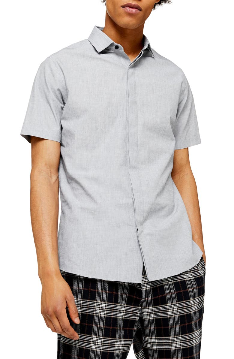 TOPMAN Turn Up Slim Fit Short Sleeve Shirt, Main, color, GREY