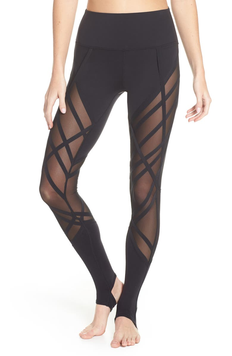 1f1528502a438 Mesh Inset High Waist Stirrup Leggings, Main, color, 001