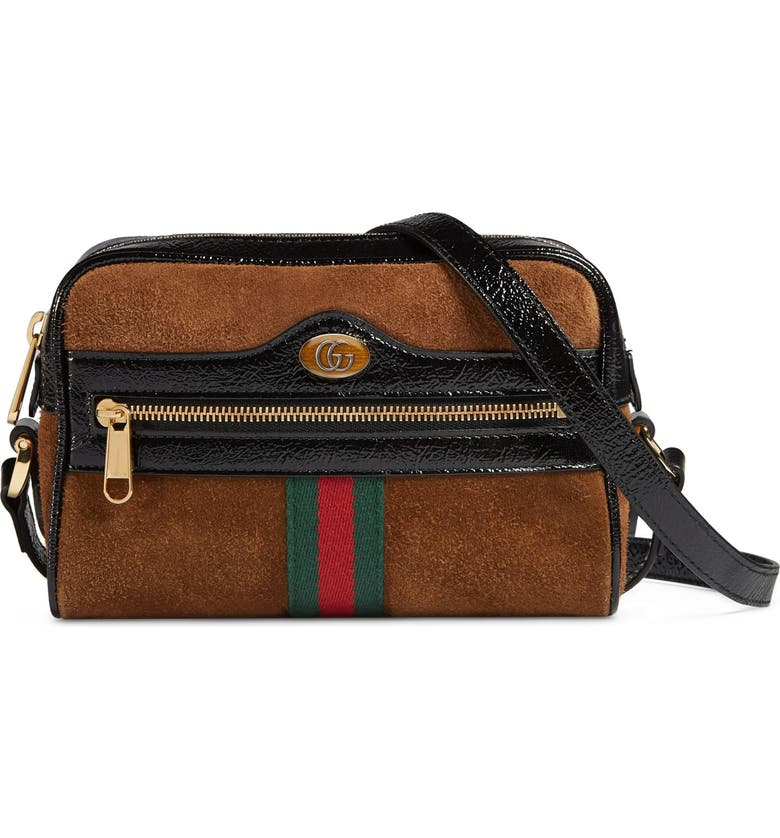 80464bcd9 Ophidia Small Suede & Leather Crossbody Bag, Main, color, NOCCIOLA/ NERO/