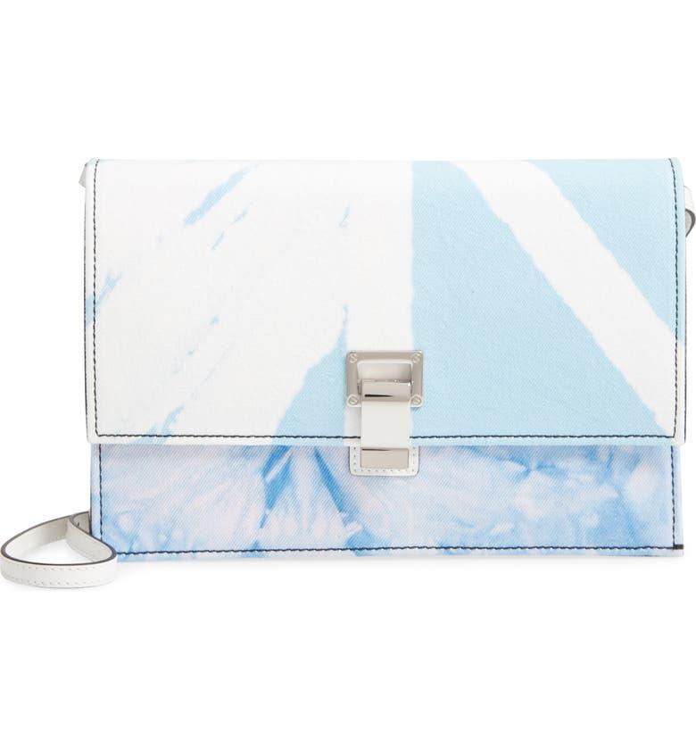 PROENZA SCHOULER Small Lunch Bag Tie Dye Denim Shoulder Bag, Main, color, BABY BLUE/ LILAC