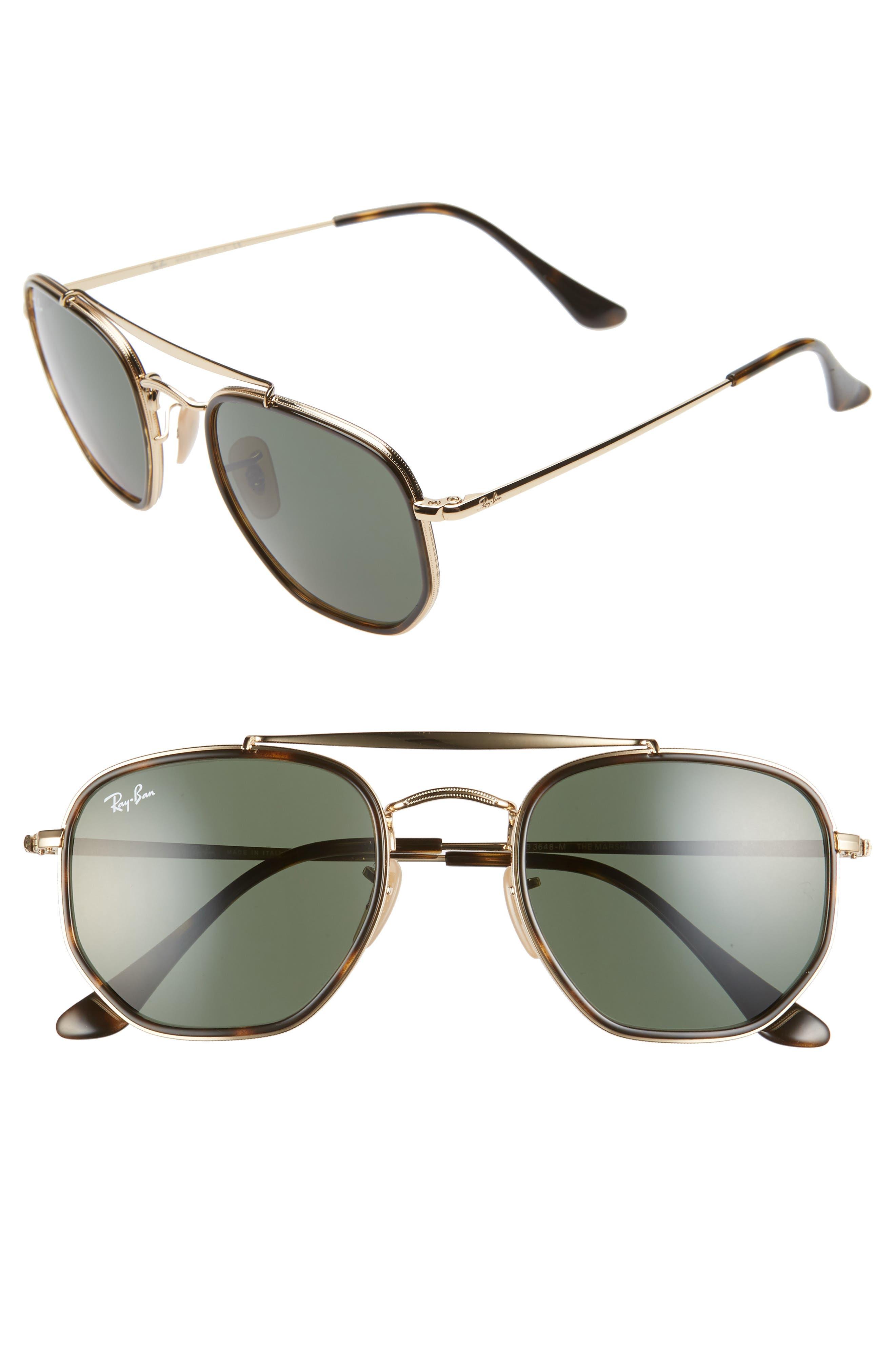 Ray-Ban 52Mm Irregular Aviator Sunglasses - Gold/ Green Solid