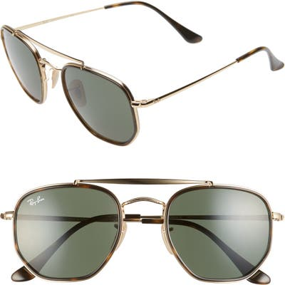 Ray-Ban 52Mm Irregular Aviator Sunglasses - Gold/ Green Solid