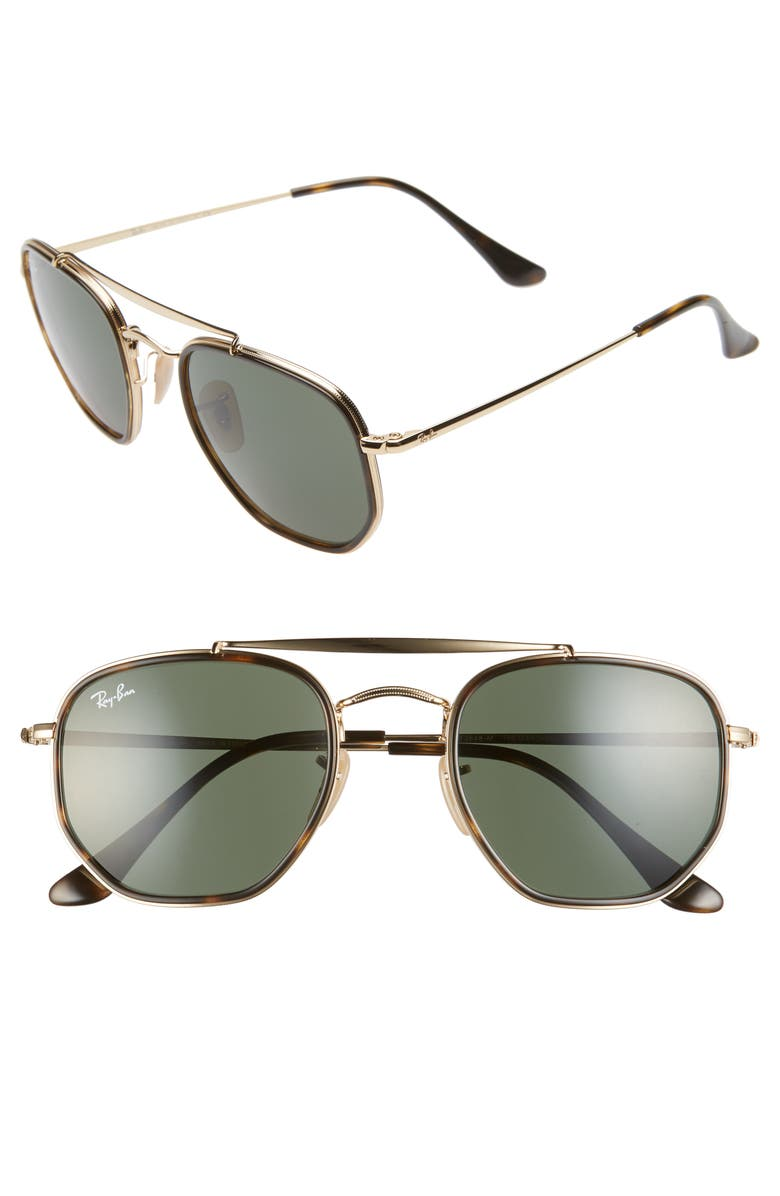 RAY-BAN 52mm Irregular Aviator Sunglasses, Main, color, GOLD/ GREEN SOLID