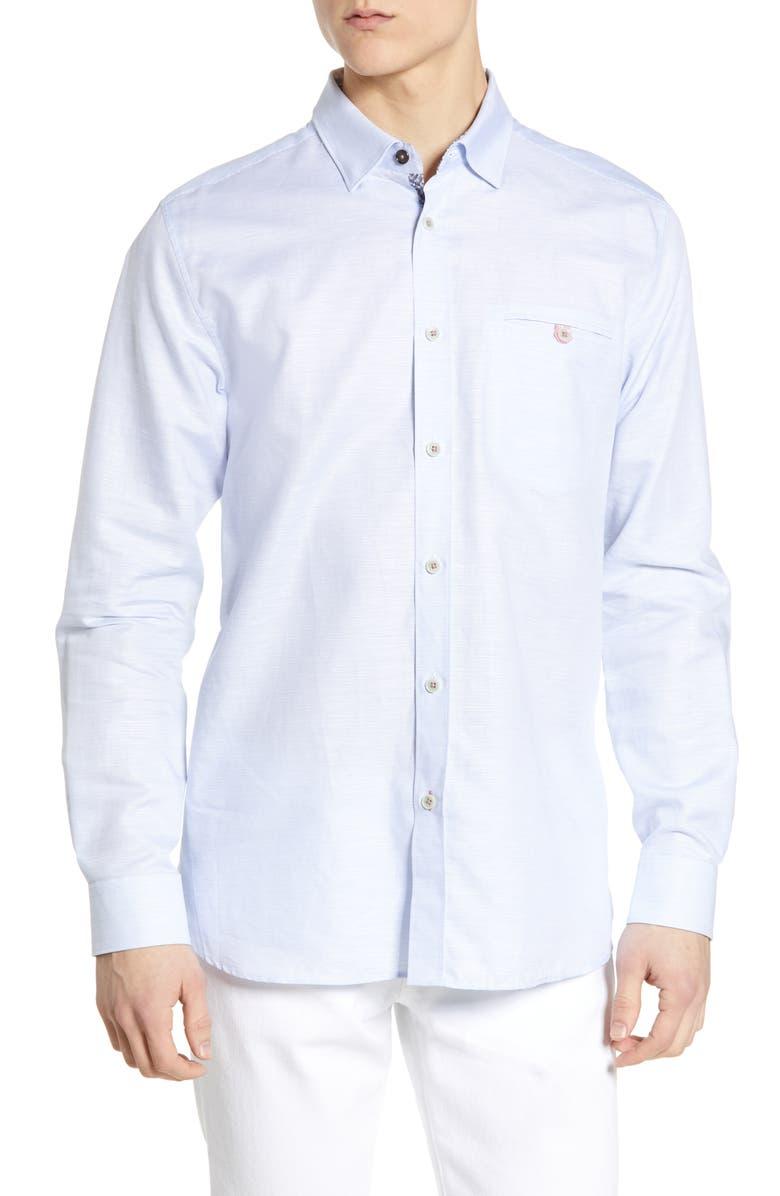 TED BAKER LONDON Rabbit Slim Fit Shirt, Main, color, BLUE