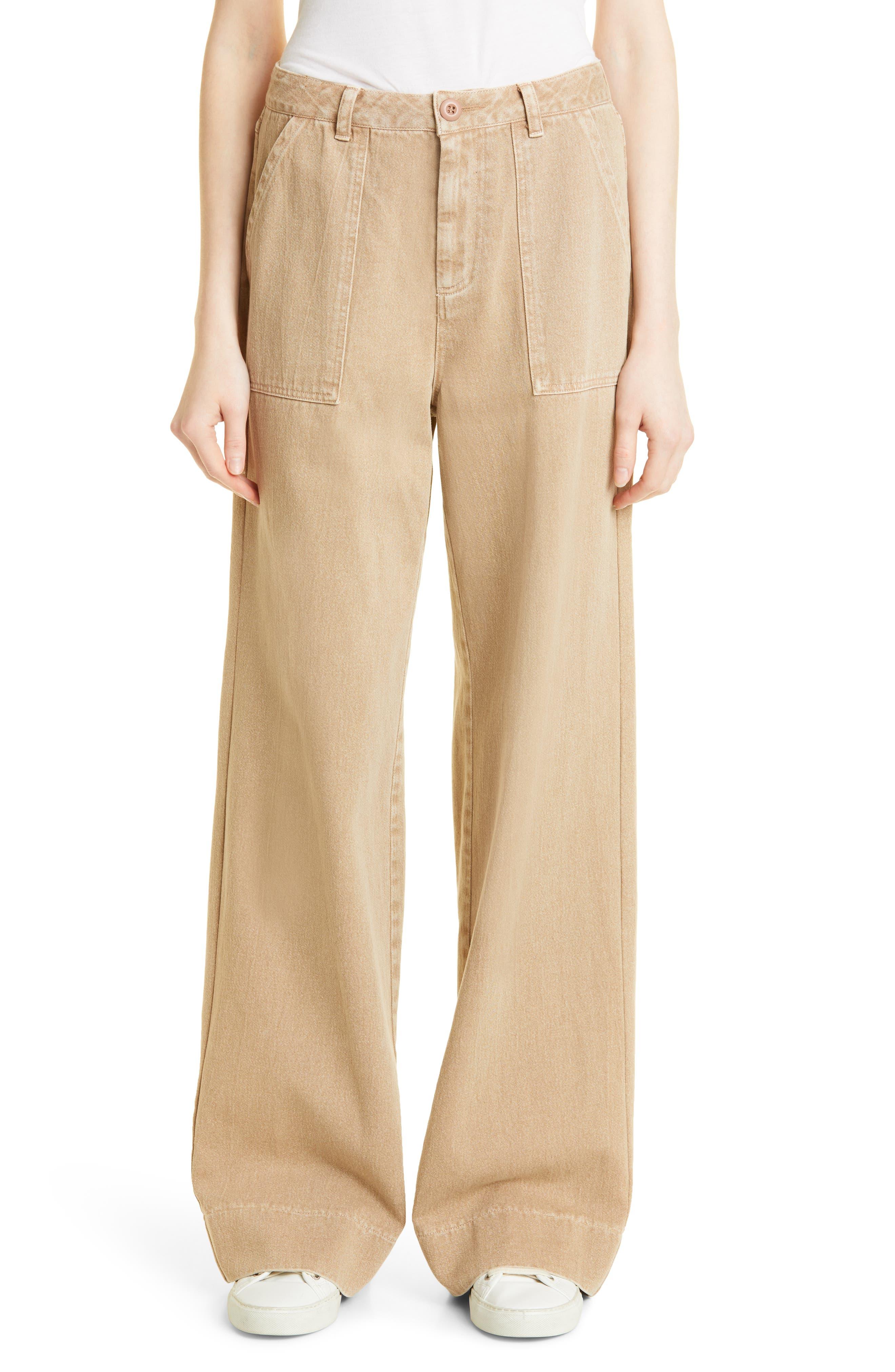 Brenda Wide Leg Cotton Twill Utility Pants