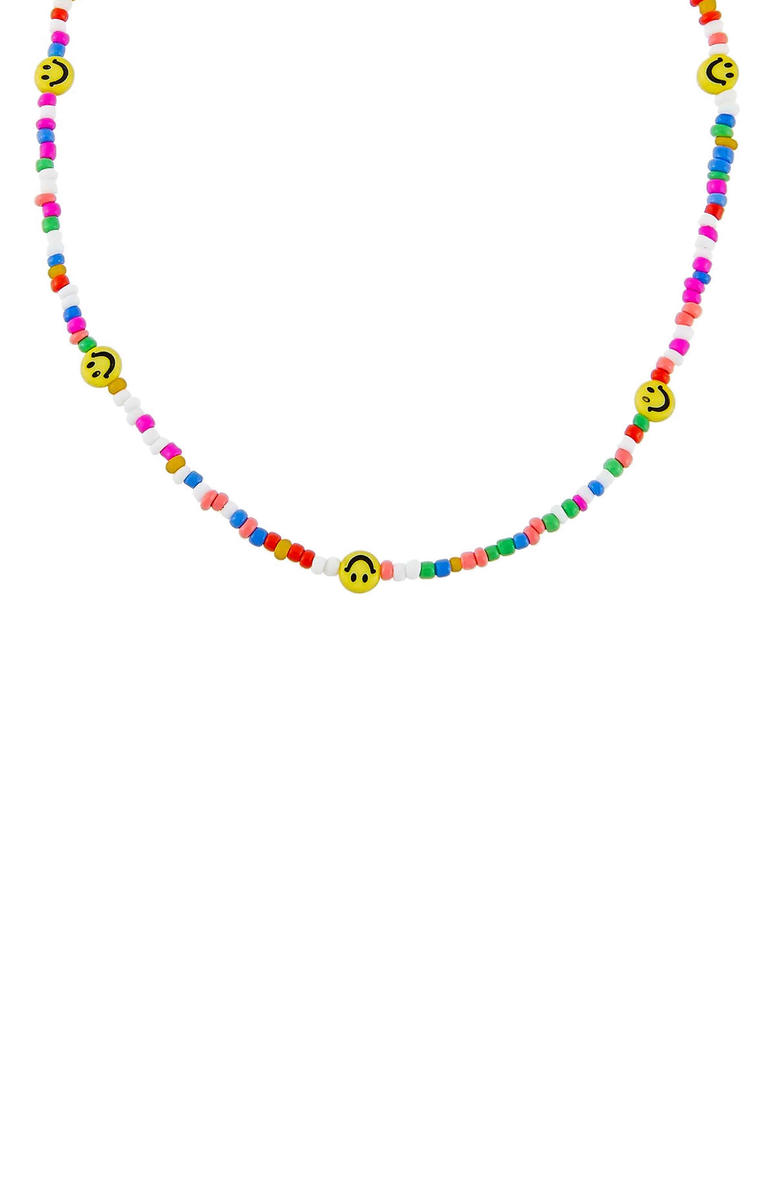 Women's Adina's Jewels Smiley Face Rainbow Beaded Necklace