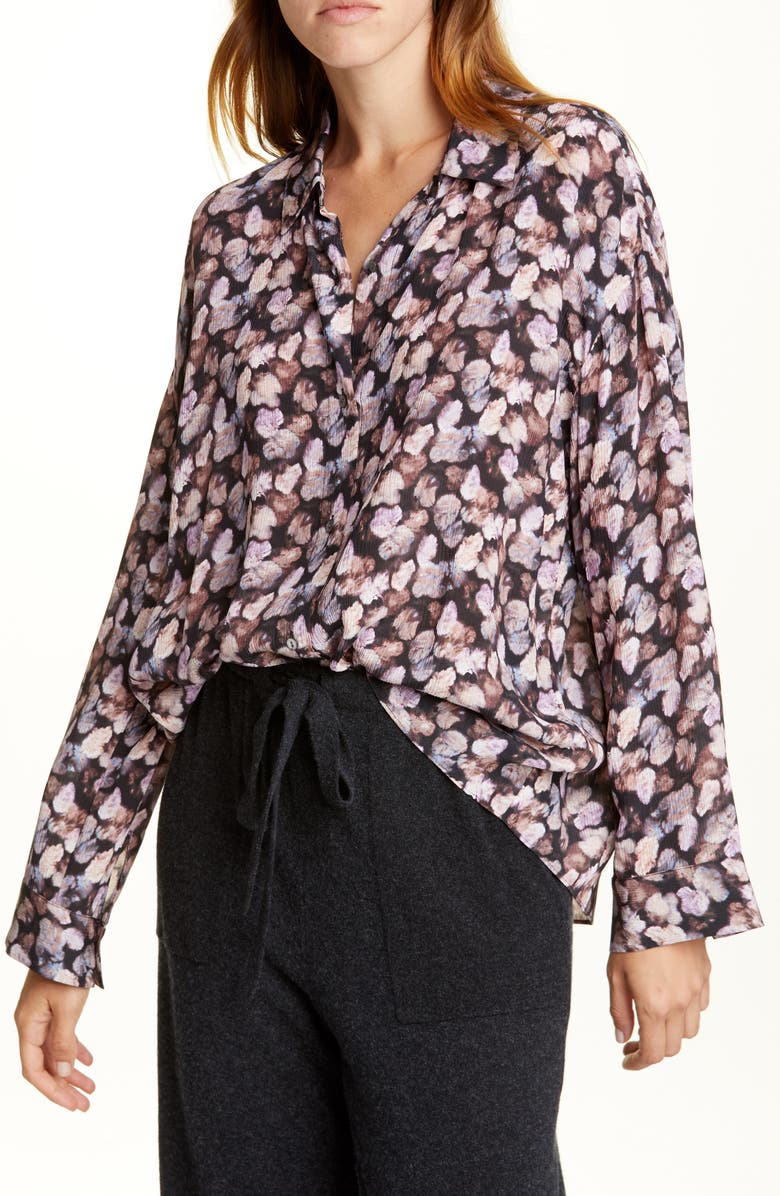 VINCE Floral Micropleat Long Sleeve Silk Shirt, Main, color, ESME