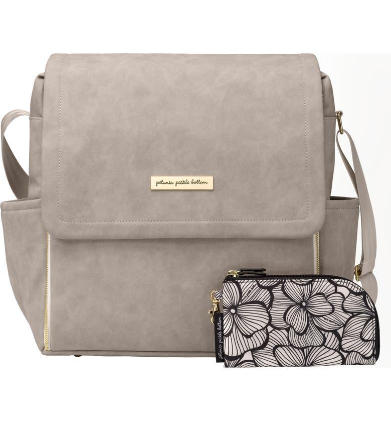 PETUNIA PICKLE BOTTOM Boxy Backpack Diaper Bag, Main, color, GREY MATTE LEATHERETTE