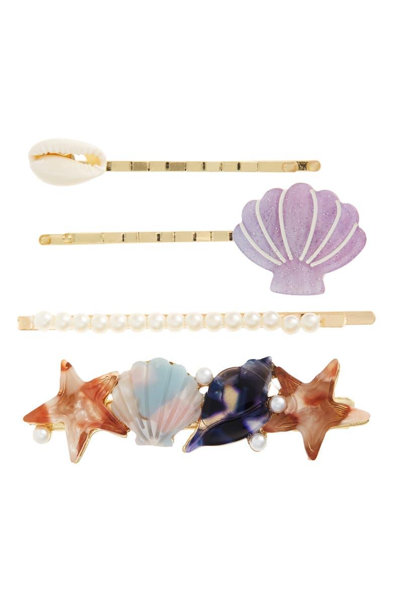 BP. 4-Pack Shell & Imitation Pearl Bobby Pins, Main, color, BLUE COMBO