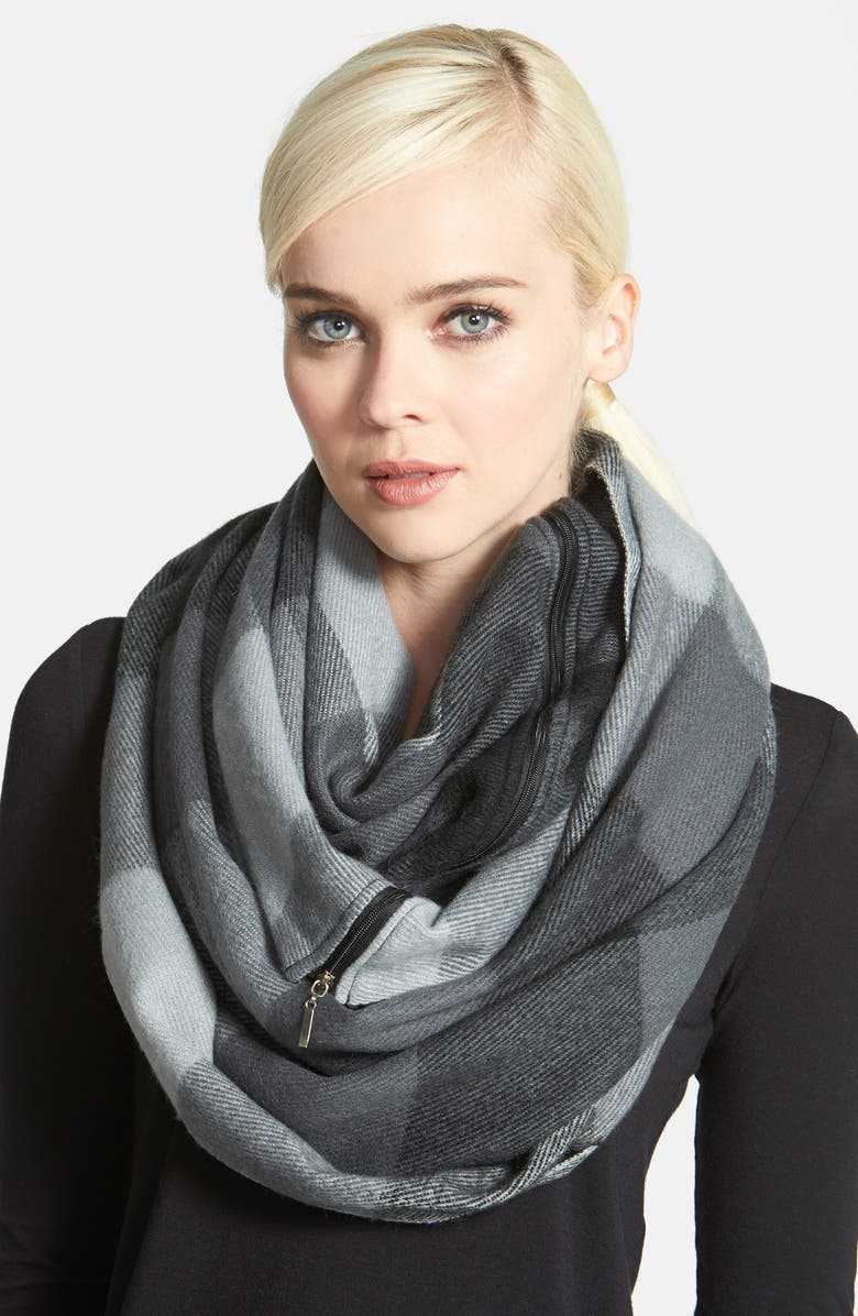 BETSEY JOHNSON Plaid Zip Infinity Scarf, Main, color, 020