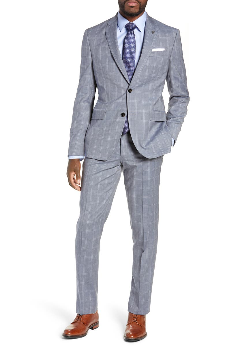TED BAKER LONDON Jay Trim Fit Windowpane Wool Suit, Main, color, 450