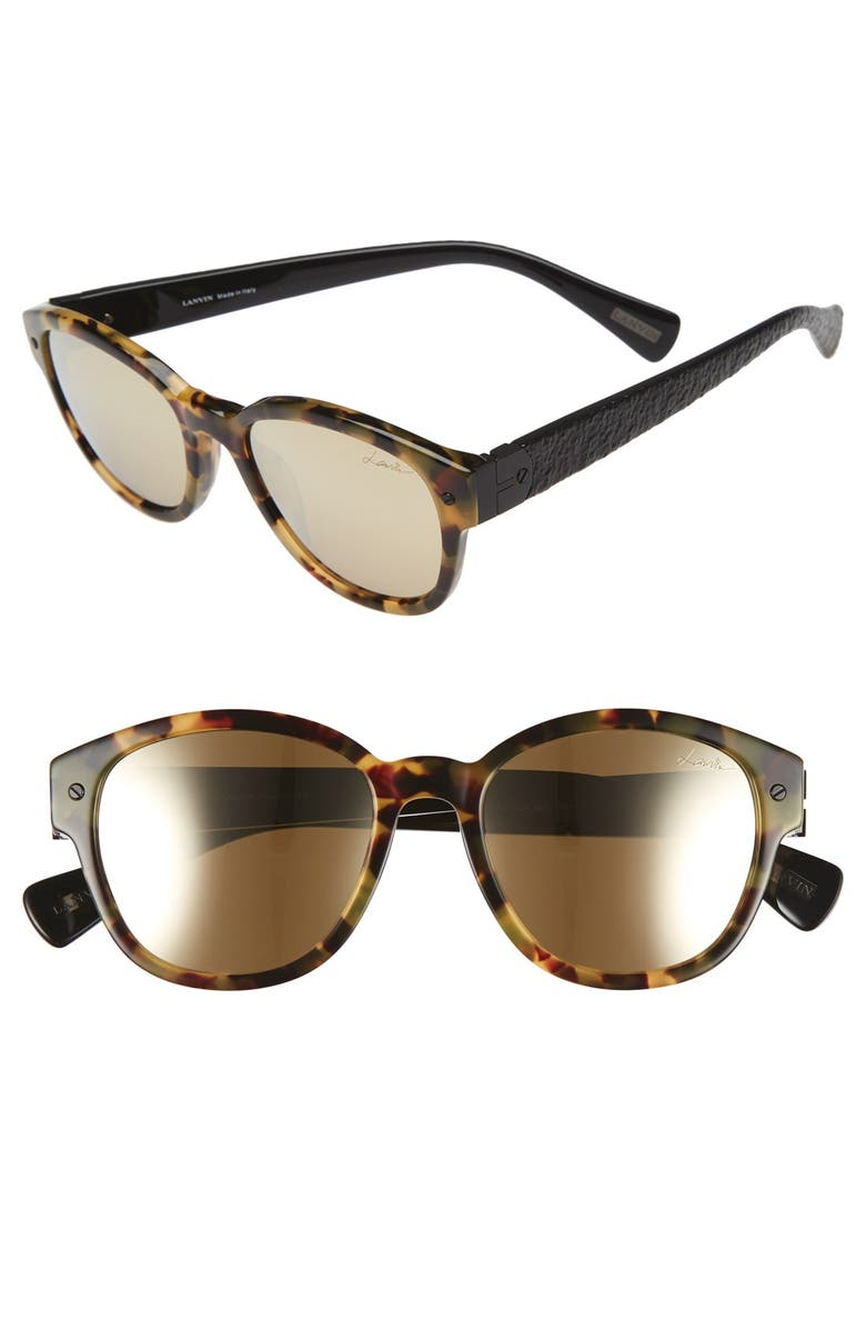 LANVIN 50mm Retro Sunglasses, Main, color, LIGHT HAVANA