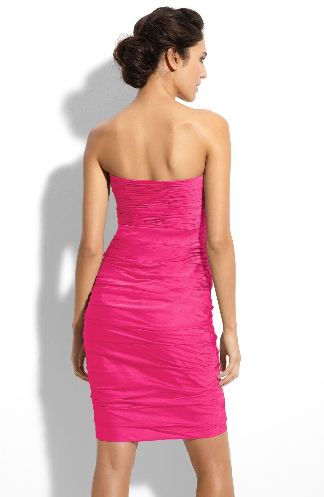 ,                             Ruched Strapless Cationic Chiffon Dress,                             Alternate thumbnail 63, color,                             655