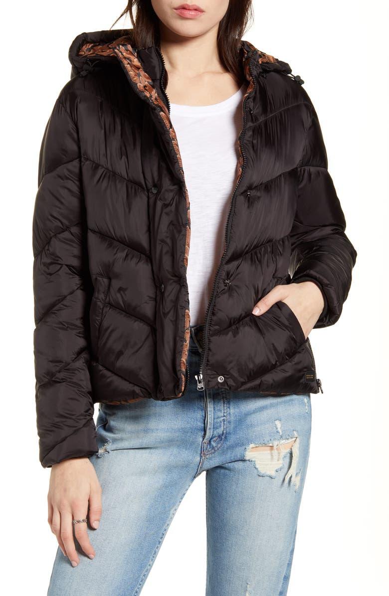 SCOTCH & SODA Short Hooded Puffer Jacket, Main, color, 001
