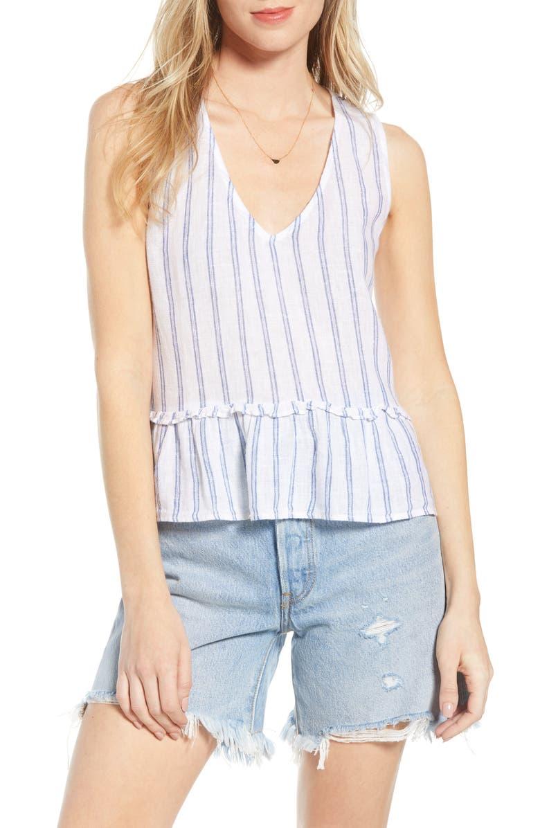 RAILS Mira Stripe Linen Blend Sleeveless Peplum Top, Main, color, 401