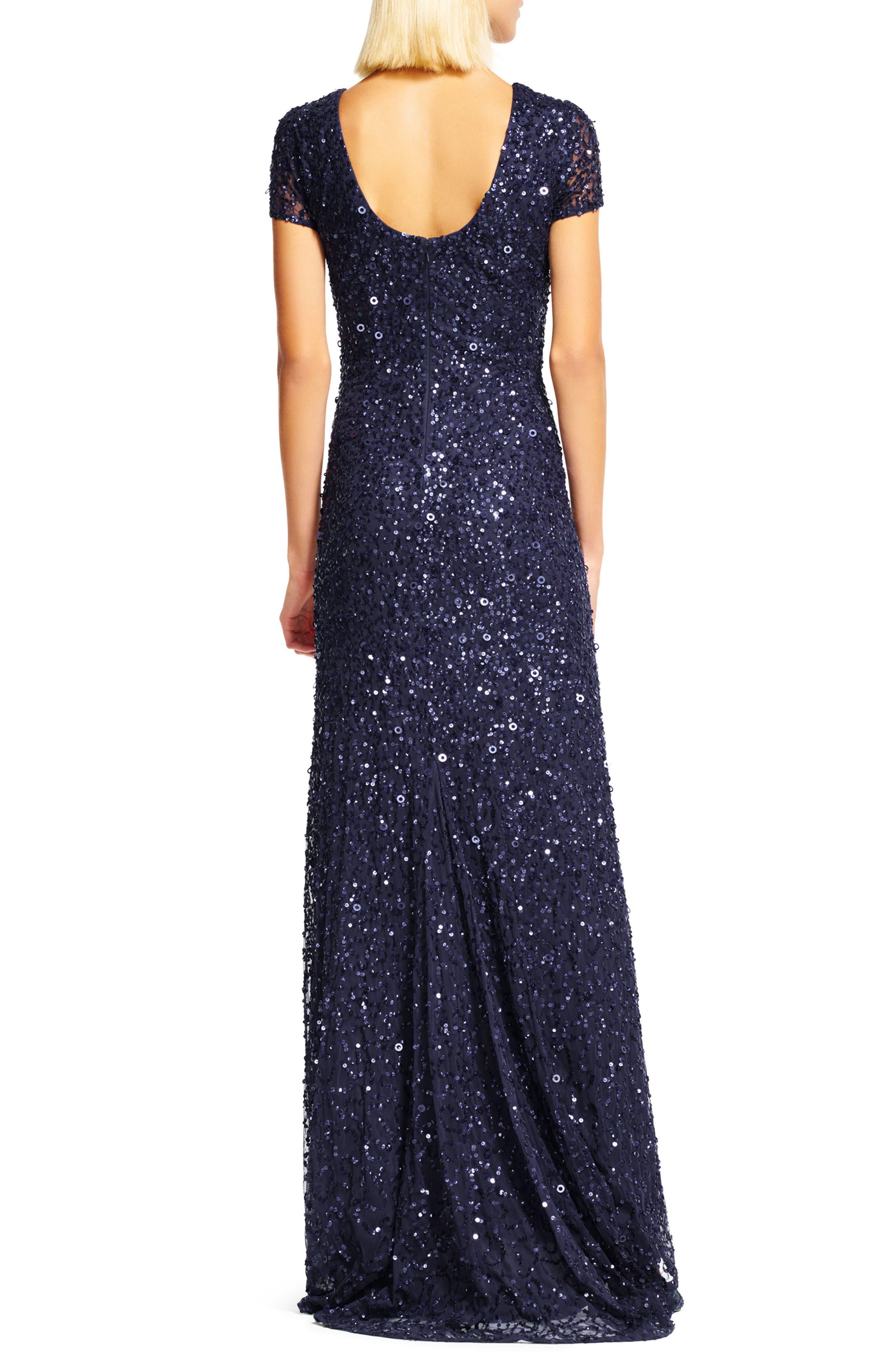 ,                             Short Sleeve Sequin Mesh Gown,                             Alternate thumbnail 29, color,                             412