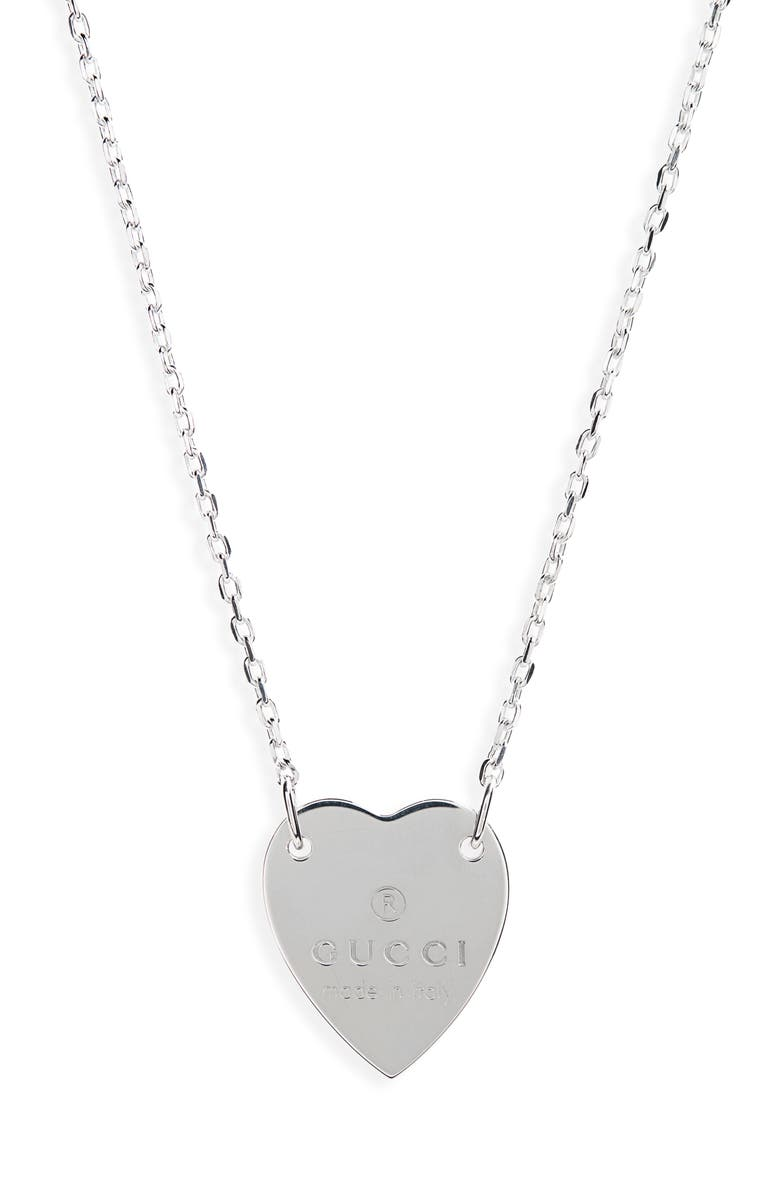 GUCCI Trademark Heart Necklace, Main, color, STERLING SILVER