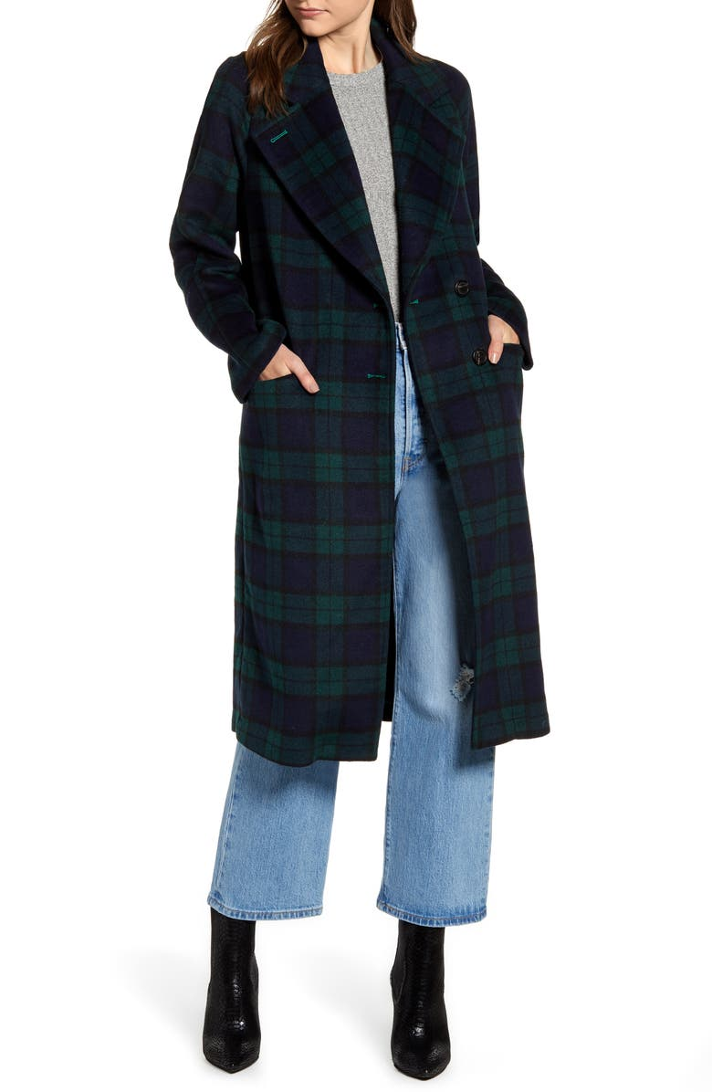 AVEC LES FILLES Double Face Wool Blend Coat, Main, color, NAVY/ GREEN