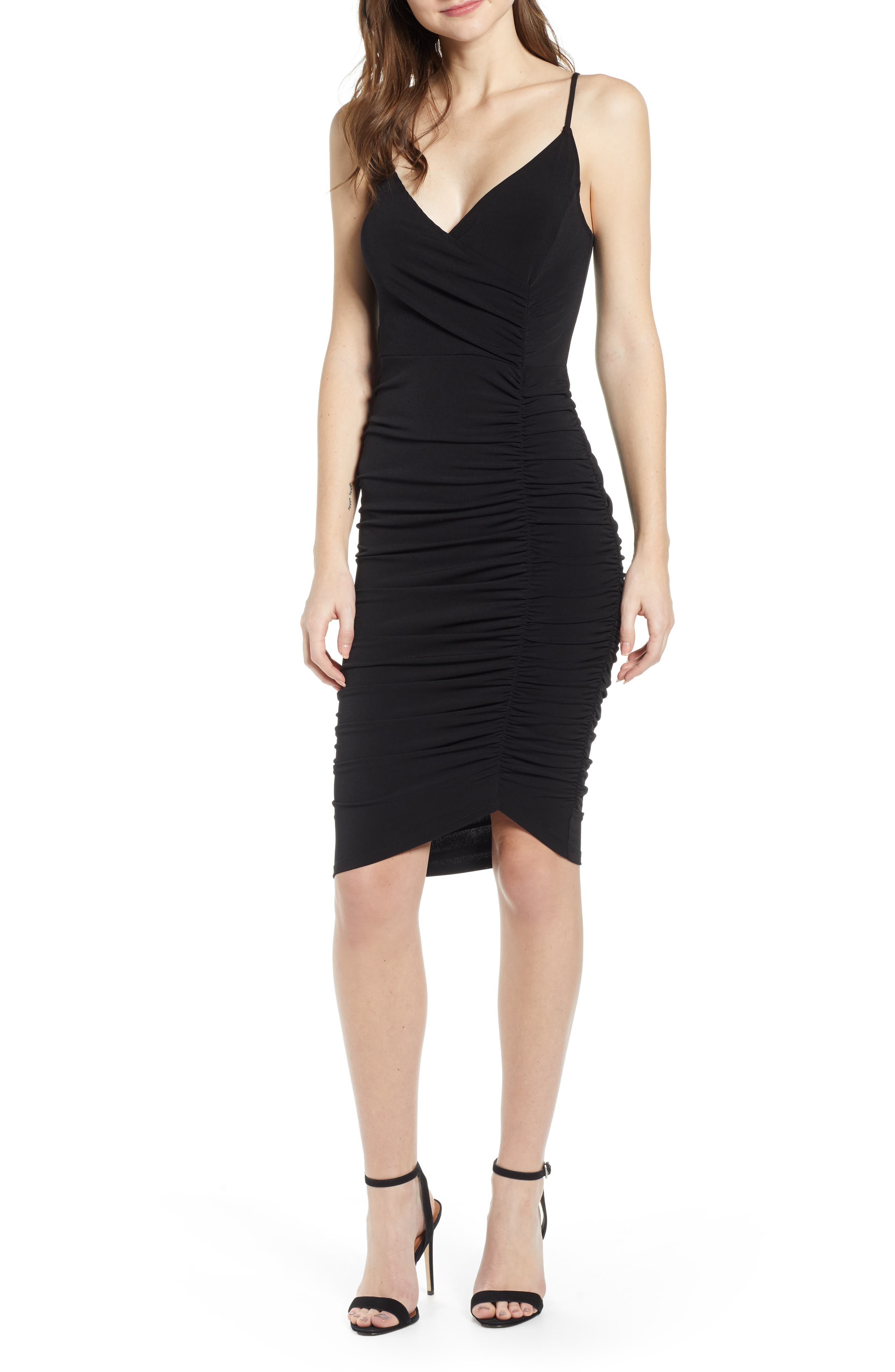 Leith Ruched Bodycon Dress, Black