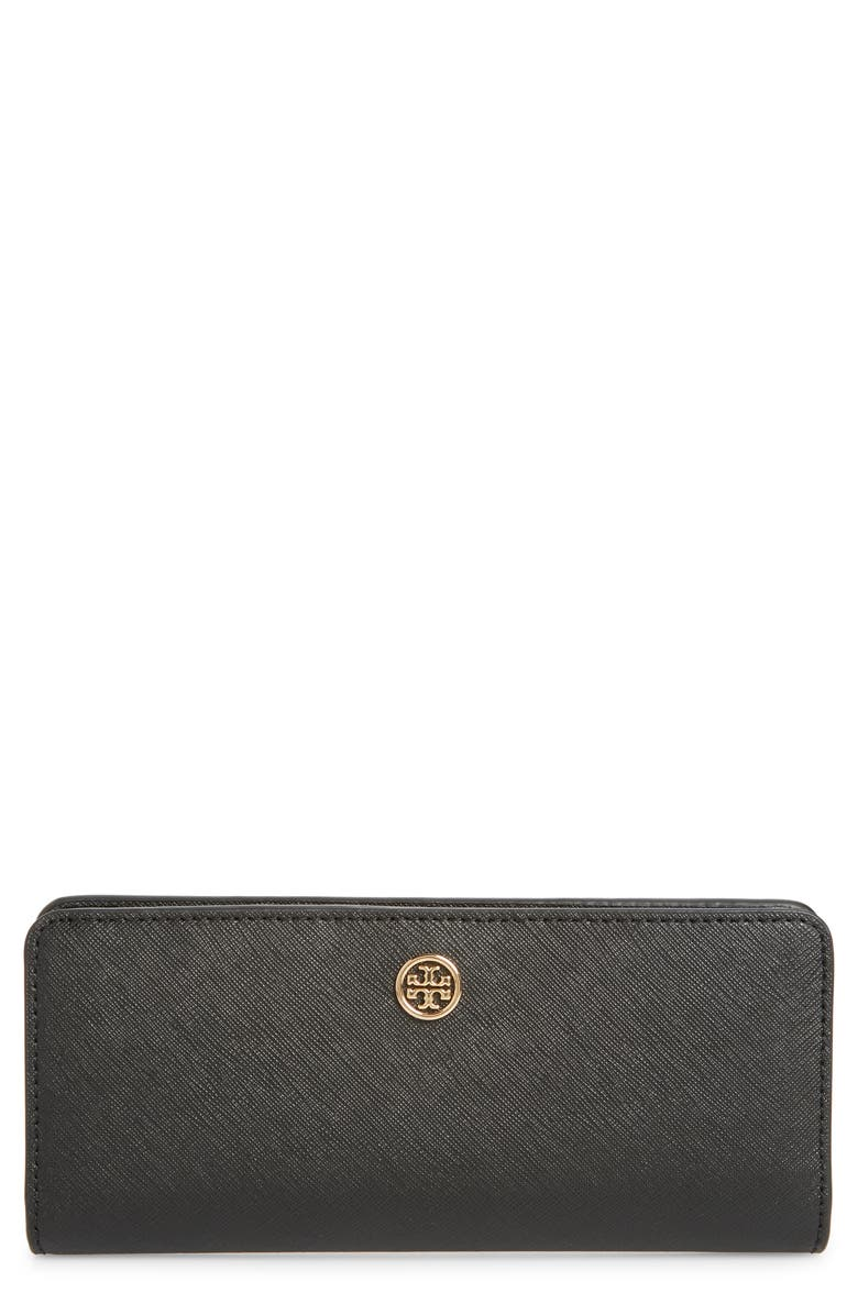 TORY BURCH Robinson Slim Leather Wallet, Main, color, BLACK