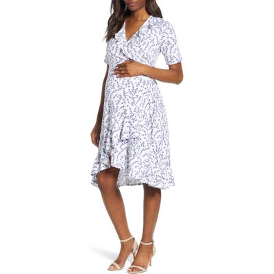 Isabella Oliver Lullah Ruffle Wrap Maternity Dress, 0 (fits like 00-0 US) - White