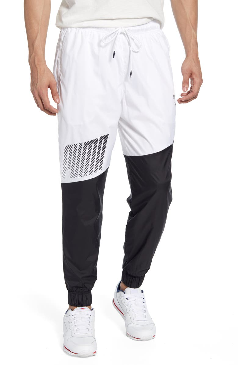 PUMA A.C.E. Colorblock Trackster Pants, Main, color, PUMA WHITE/ PUMA BLACK