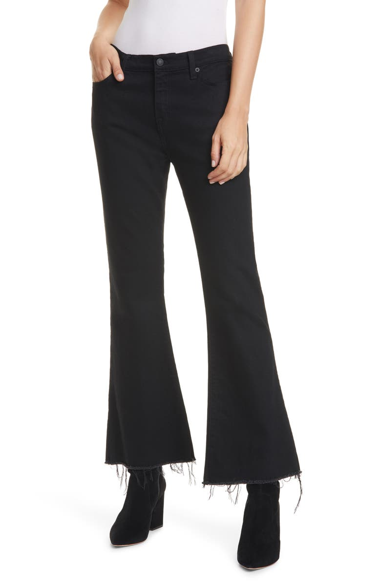 NILI LOTAN Vianca High Waist Ankle Flare Jeans, Main, color, JET BLACK
