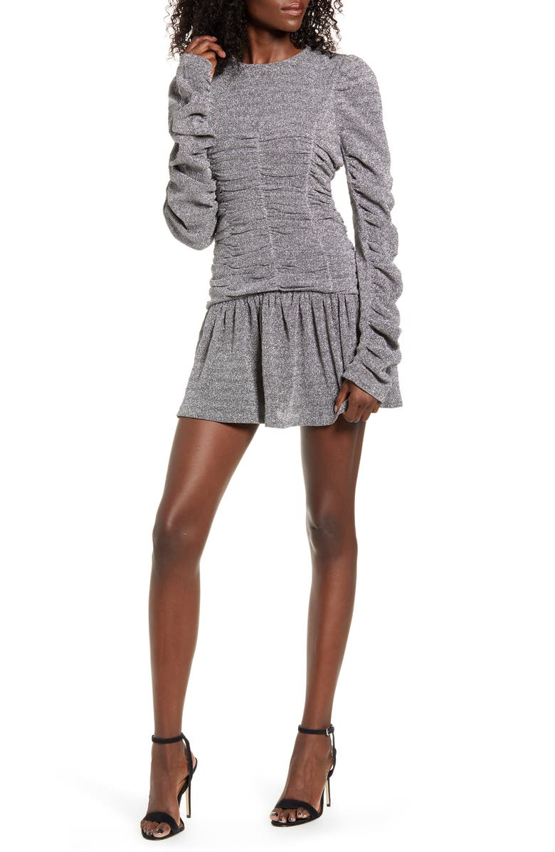 ENDLESS ROSE Metallic Ruched Minidress, Main, color, SILVER