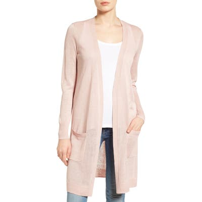 Petite Halogen Long Linen Blend Cardigan, Pink