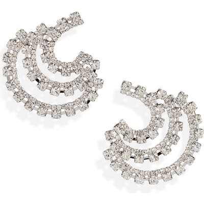 Cristabelle Three Row Crystal Button Earrings