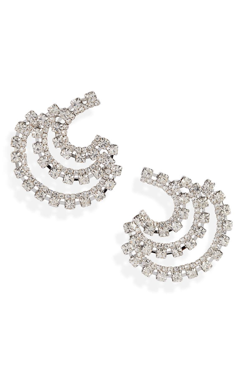 CRISTABELLE Three Row Crystal Button Earrings, Main, color, CRYSTAL/ SILVER