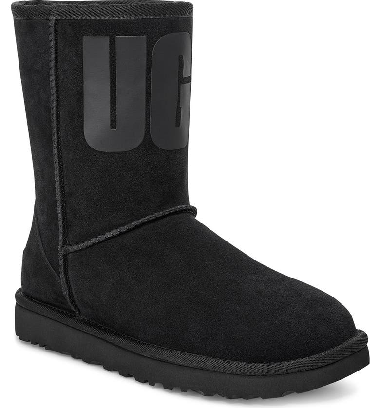 UGG<SUP>®</SUP> Classic Short Logo Boot, Main, color, 001