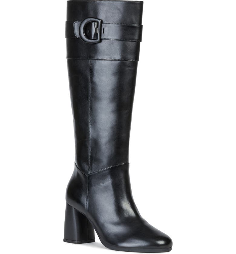 GEOX Calinda Tall Boot, Main, color, BLACK LEATHER