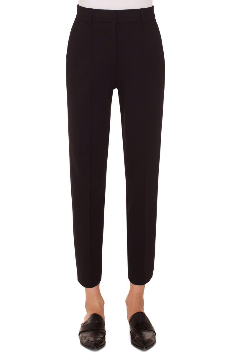 AKRIS PUNTO Ferry High Waist Crop Pants, Main, color, BLACK