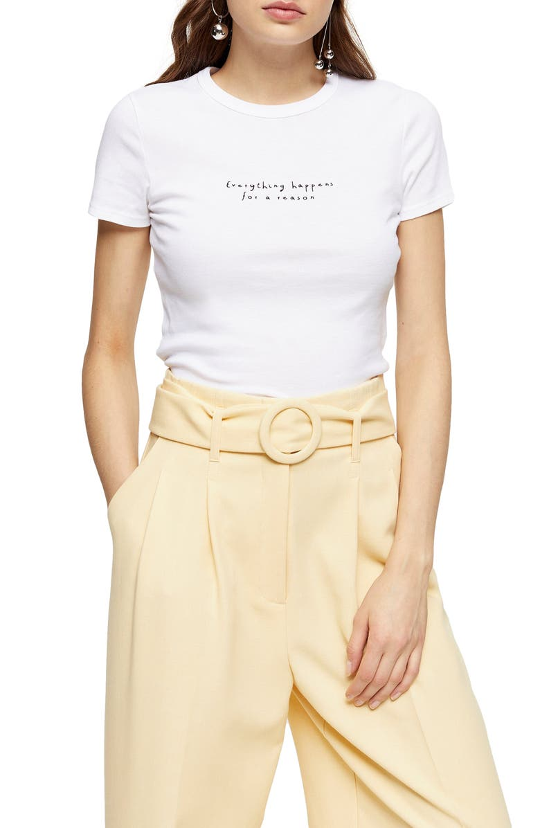 TOPSHOP Happens for a Reason Graphic Tee, Main, color, 100