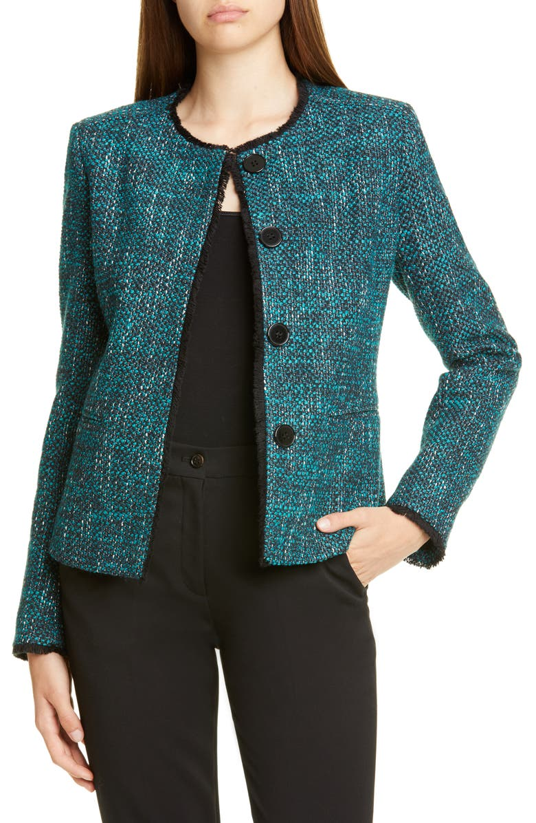HELENE BERMAN Judy Tweed Jacket, Main, color, BLUE/ TEAL