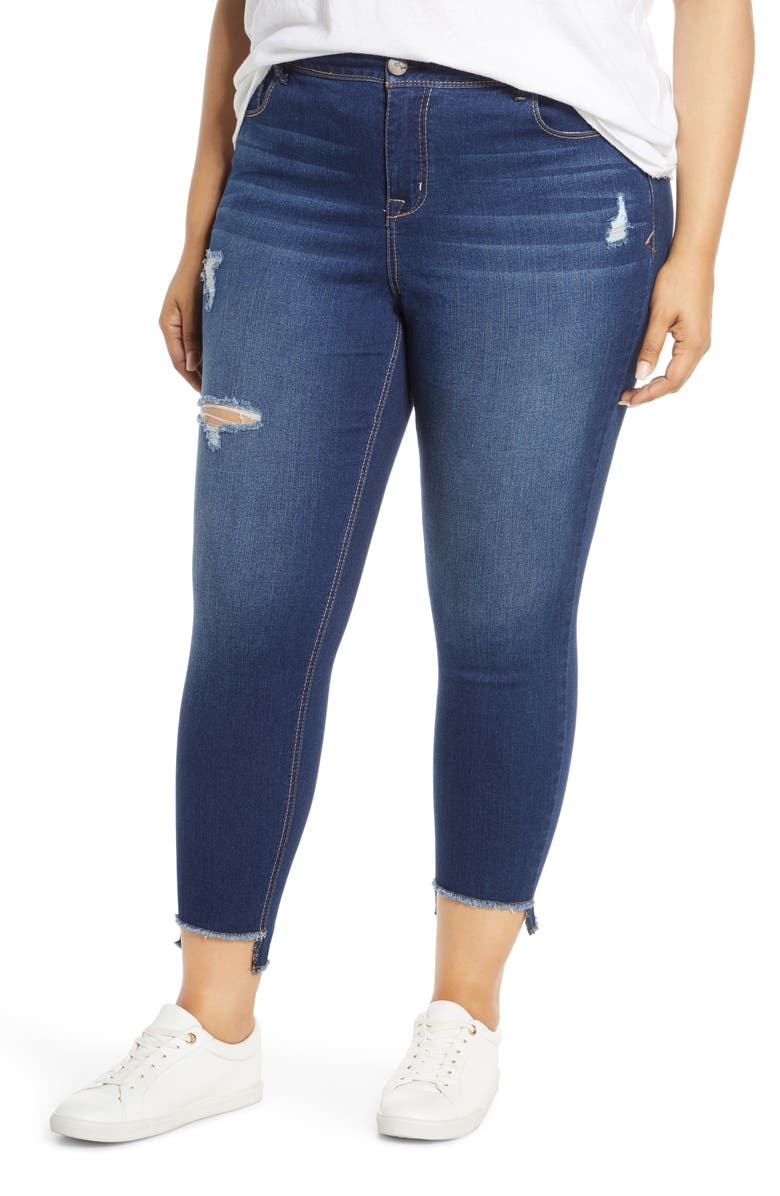 1822 DENIM Distressed Step Hem Skinny Jeans, Main, color, EDWARD