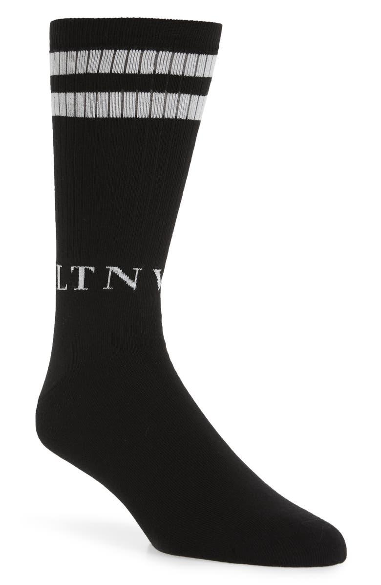 VALENTINO VLTN Logo Socks, Main, color, BLACK WHITE