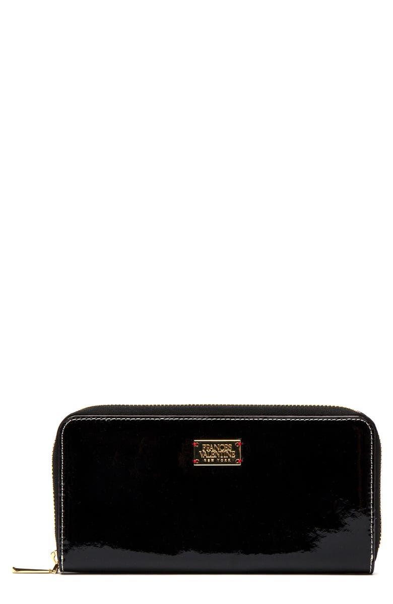 FRANCES VALENTINE Washington Patent Leather Wallet, Main, color, BLACK/ OYSTER