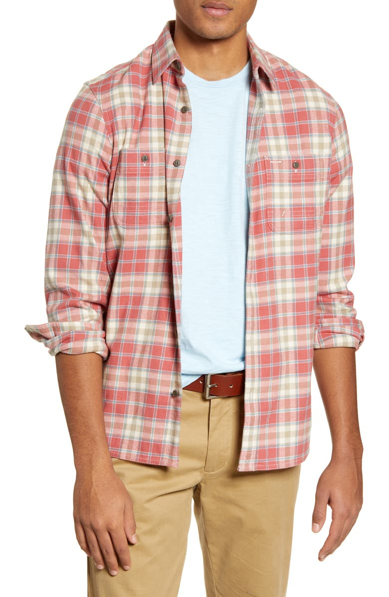 1901 Trim Fit Plaid Flannel Button-Up Shirt, Main, color, CORAL IVORY SAND CHECK