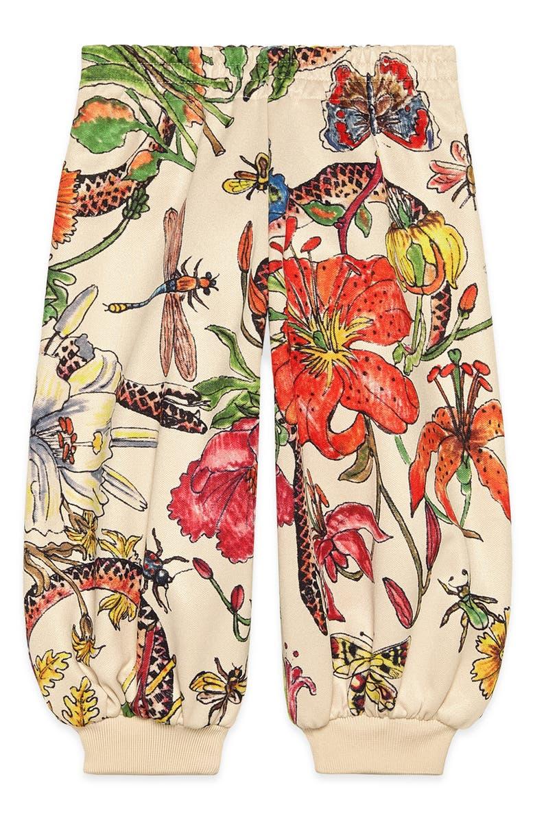 GUCCI Floral Print Jogger Pants, Main, color, IVORY MULTI
