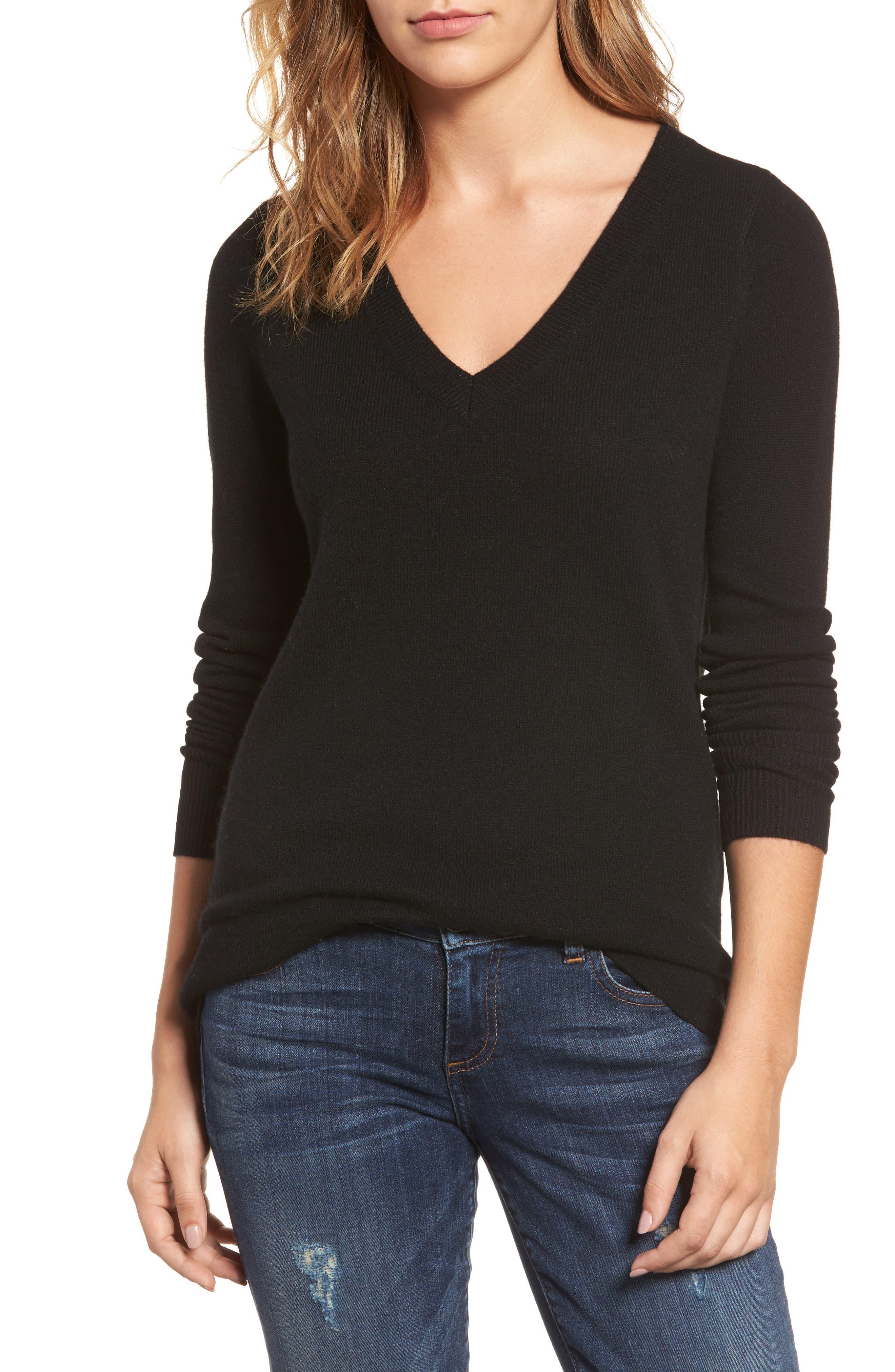 ,                             V-Neck Cashmere Sweater,                             Main thumbnail 76, color,                             001