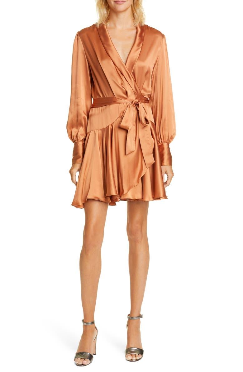 ZIMMERMANN Super Eight Silk Long Sleeve Wrap Minidress, Main, color, SANDALWOOD