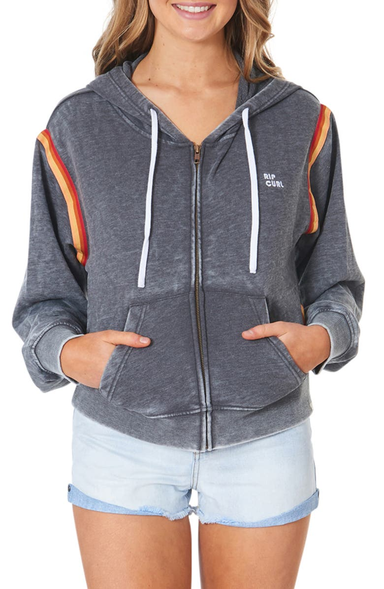 RIP CURL Golden Days Rainbow Trim Zip Hoodie, Main, color, CHARCOAL MARLE