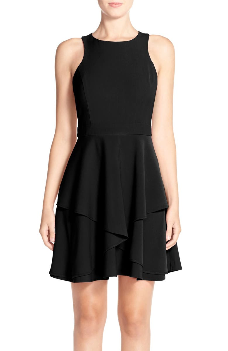 ADELYN RAE AdelynRae GabardineFit & Flare Dress, Main, color, 001
