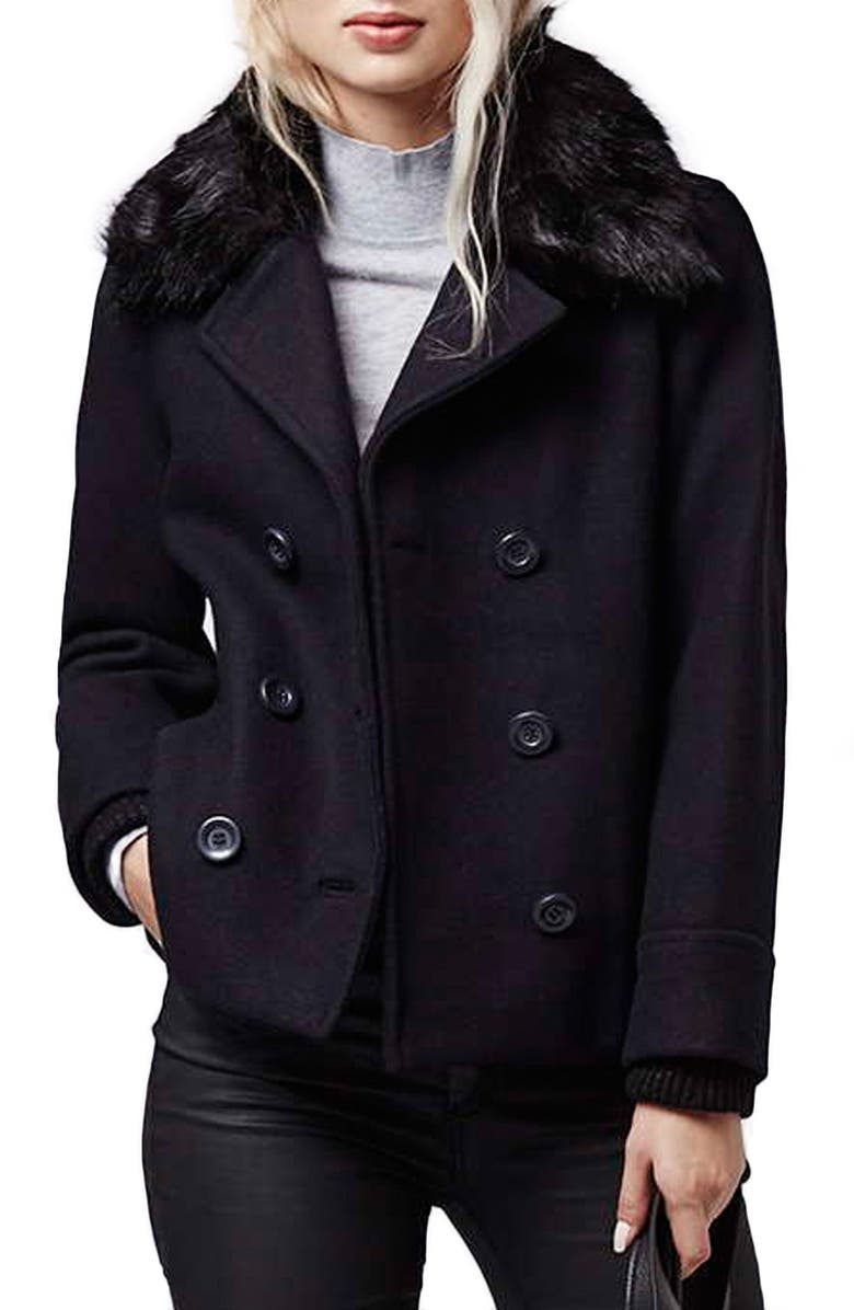 TOPSHOP Faux Fur Double Breasted Peacoat, Main, color, 410