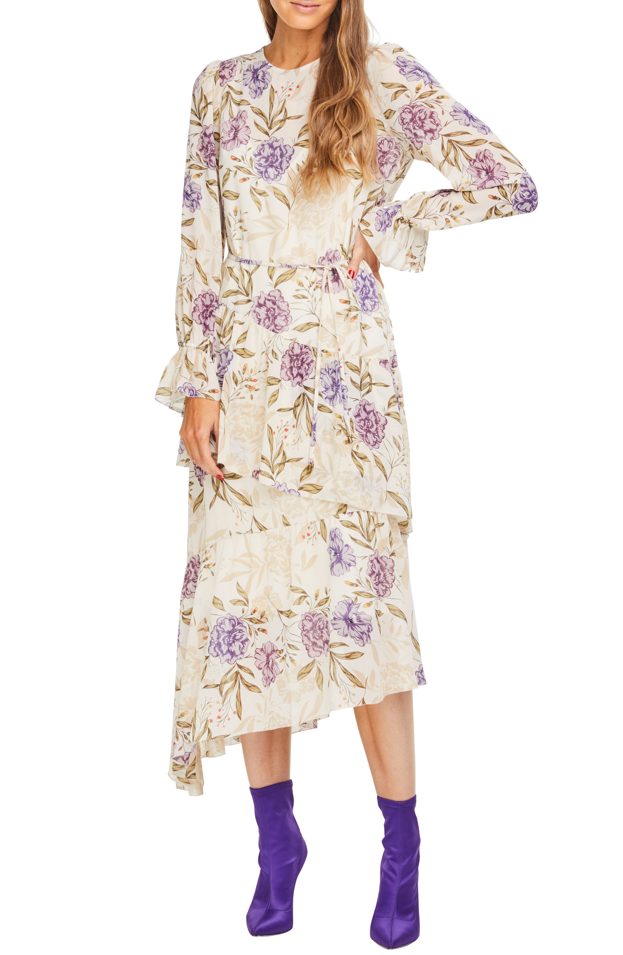 Astr The Label Mona Floral Dress, Ivory